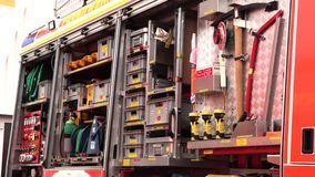 Set of tools in the fire truck. A set of tools and fixtures in the fire truck stock video