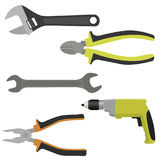Set of tools. Flat style. Vector illustration Royalty Free Stock Photo
