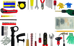 Set of tools. Frame from tools and construction implements isolated on white background. Copy-space Stock Photography