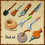 Set of tools gardeners on parchment paper Stock Photos
