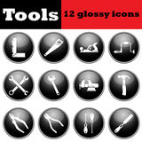 Set of tools glossy icons Stock Image