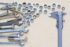 Set of tools on graph paper royalty free stock images