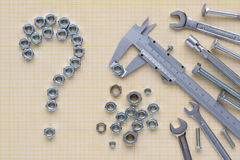 Set of tools on graph paper royalty free stock photos