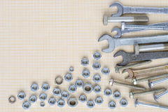 Set of tools on graph paper royalty free stock image