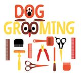 A set of tools for grooming. Flat design. Colorful colors. Humorous form. Lettering stock illustration