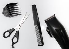 Set of tools for haircut, scissor, comb royalty free stock photo