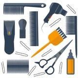 Set  tools for hairdresser hair, scissors Stock Images