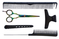 Set of tools for the hairdresser: scissors, combs and hair clips Royalty Free Stock Photo