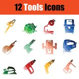 Set of tools icons. Full color design. Vector illustration stock illustration