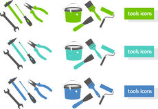 Set of tools icons (three colors) Royalty Free Stock Images