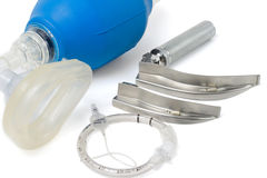 Set of tools for incubation tracheas. Set of tools for intubation tracheas. For artificial lung ventilation Stock Photo