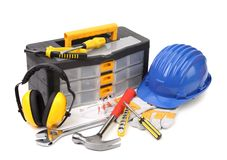 Set of tools and instruments with toolbox Stock Images