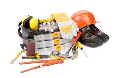 Set of tools and instruments with toolbox. Royalty Free Stock Image
