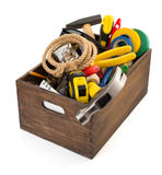 Set of tools and instruments in toolbox. Isolated on white background Stock Image