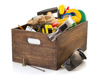 Set of tools and instruments in toolbox Stock Images