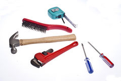 Set of tools and instruments  on white background Royalty Free Stock Photography