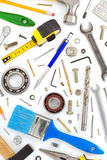 Set of tools and instruments on white Royalty Free Stock Photography