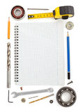 Set of tools and instruments on white Royalty Free Stock Photo
