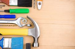 Set of tools and instruments on wood Stock Image