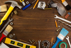 Set of tools and instruments on wood Stock Photos