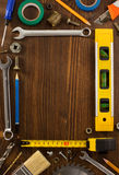 Set of tools and instruments on wood Stock Images
