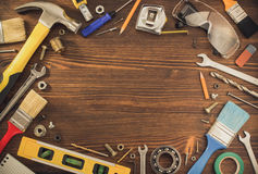 Set of tools and instruments on wood Royalty Free Stock Photo