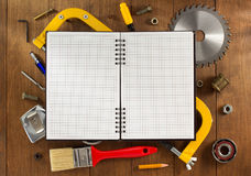 Set of tools and instruments on wood Royalty Free Stock Images