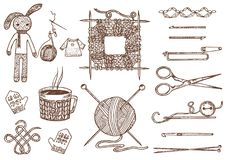 Set tools for knitting or crochet and materials or elements for needlework. club sewing. handmade for DIY. tailor shop. Yarn, wool natural home sheep, tangle Stock Photos