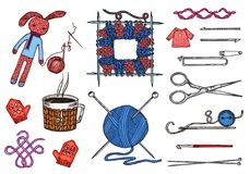 Set tools for knitting or crochet and materials or elements for needlework. club sewing. handmade for DIY. tailor shop. Yarn, wool natural home sheep, tangle royalty free illustration