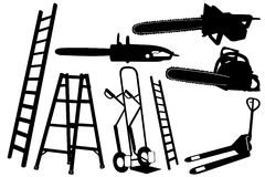 Set of tools and ladders Royalty Free Stock Photography