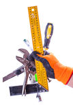 Set of tools in male hand Stock Photos