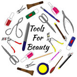 Set of tools for manicure. Colorful vector illustration tools for beauty Royalty Free Stock Image