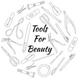 Set of tools for manicure. Vector illustration. Hand drawn set of tools for manicure. Vector illustration Stock Photo