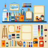 Set of Tools and Materials for Creativity Stock Photo