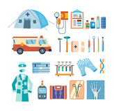 Set of tools for medical research, treatment, work in institution. Stock Photography