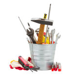 Set of tools in metal pot Royalty Free Stock Photography