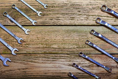 Set of tools on the old wood table Royalty Free Stock Images