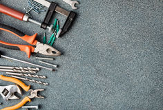 Set of tools over stone texture Stock Photo
