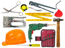 Set of  tools over white background Stock Photos