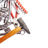 Set of tools over white isolated background Stock Photography