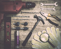 Set of tools over a wood background Royalty Free Stock Image