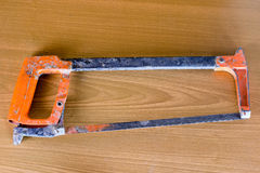 Set of tools over a wood panel with space for text,set of construction tools,hammer , nail ,screwdriver,saw, copy space. Close up ,Set of tools over a wood panel royalty free stock photos