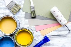 Set of tools for painting on grey wooden desk background top view Stock Photography
