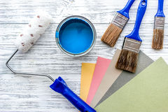 Set of tools for painting on grey wooden table background top view Royalty Free Stock Photo