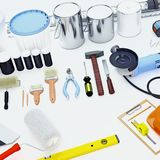 Set of tools and paints for making repair isolated on white back Royalty Free Stock Images