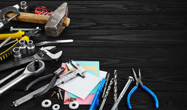 Set of tools, pen and sticky note. Royalty Free Stock Photo