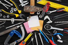 Set of tools, pen and sticky note. Royalty Free Stock Image