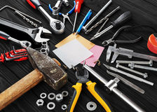 Set of tools, pen and sticky note. Royalty Free Stock Images