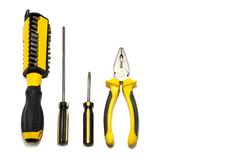 A set of tools for the repair and installation of electricians. Some tools for repair and installation of electricians on a white background can be used on the royalty free stock image