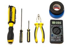 A set of tools for the repair and installation of electricians. Some tools for repair and installation of electricians on a white background can be used on the stock images